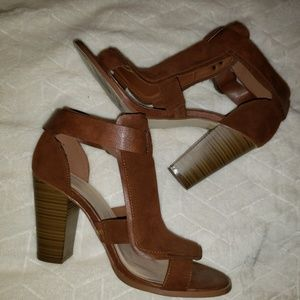 Cognac Heeled Sandals, Sz 11